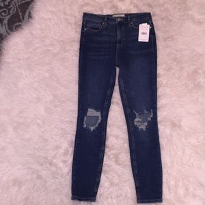 Free People Midnight Blue Distressed Jeans